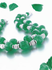 Fluted Emerald Beads And Diamonds by Christie's Images
