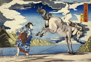 The Strong Woman, Okane, Of Omi Province, Subduing A Wild Horse by Utagawa Kuniyoshi