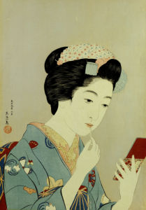 A Maiko Applying Rouge To Her Lips by Hashiguchi Goyo