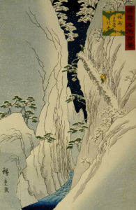 Kiso Gorge In New Snow. From The Series One Hundred Views of Famous Places by Ando Hiroshige