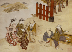The First Meeting. From the Set, The Fox's Wedding, c. 1765 by Tachibana Minko