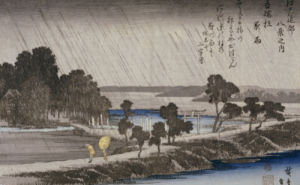 Night Rain At Azuma Shrine. From The Series Eight Views Of The Environs Of Edo by Ando Hiroshige