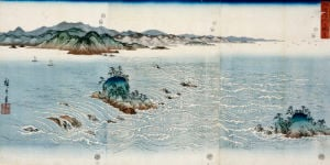 A View Of The Whirlpools At Naruto In Awa Province, C. 1857 by Ando Hiroshige