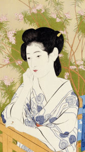 A Bust Portrait Of A Young Woman Leaning On A Balcony Railing, 1920 by Hashiguchi Goyo