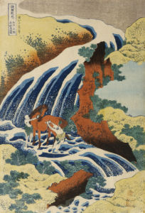 Two Men Washing A Horse in A Waterfall by Katsushika Hokusai