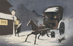 Snowy Evening At Honcho Street, A Horse-Drawn Carriage In The Snow by Kobayashi Kiyochika