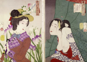 Strolling: The Appearance of an Upper-Class Wife of the Meiji Era and Itchy by Tsukioka Yoshitoshi