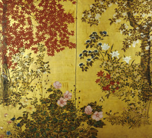 A Two Leaf Japanese Screen With Maple Branches by Christie's Images