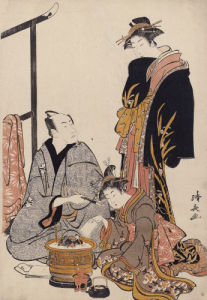 The Actor Matsumoto Koshiro IV Seated Holding A Pipe By A Brazier by Torii Kiyonaga