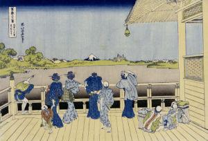 Sazai Hall Of Five-Hundred-Rakan Temple. From The Series 'Thirty Six Views Of Mount Fuji' by Katsushika Hokusai