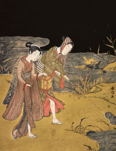 A Young Couple Catching Fireflies At Night On The Banks Of A River by Suzuki Harunobu