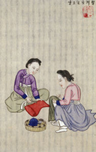 Making Inner Linings For Hats. From An Album Of Scenes Of Daily Life by Kim Junkeun