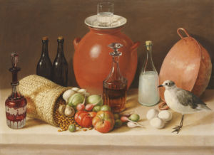Still Life With A Bird And A Pitcher (Dining Room Scene) by Jose Agustin Arrieta