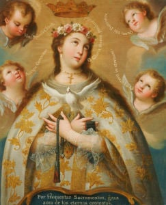 Coronation Of The Virgin by Jose de Paez