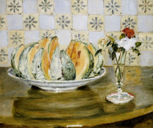 Still Life Of a Melon And A vase of Flowers, Circa 1872 by Pierre Auguste Renoir