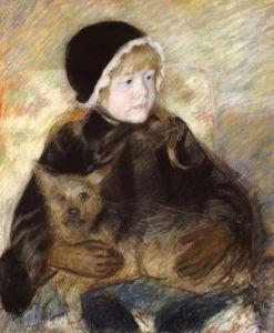 Elsie Cassat Holding A Big Dog by Mary Cassatt