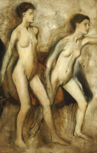 Young Spartan Girls Provoking The Boys. (Young Spartans Wrestling), 1860 by Edgar Degas