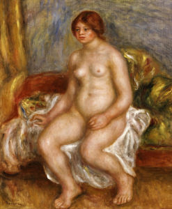 Nude Woman On Green Cushions, 1909 by Pierre Auguste Renoir