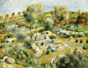 Brittany Landscape With Trees And Rocks by Pierre Auguste Renoir