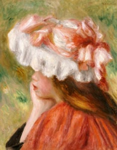 Head Of A Young Girl In A Red Hat by Pierre Auguste Renoir