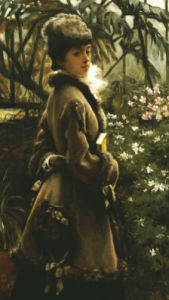 In The Greenhouse, Circa1867 by James Jacques Joseph Tissot