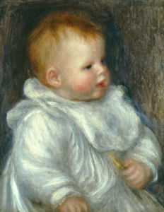 A Portrait Of Coco Against A Blue Background by Pierre Auguste Renoir