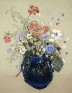 A Vase OF Blue Flowers, Circa 1905 by Odilon Redon