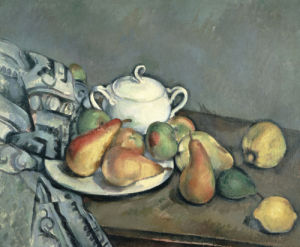 Sugar Bowl, Pears And Carpet by Paul Cezanne