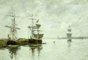 Scene Du Port, Circa 1880 by Eugene Louis Boudin