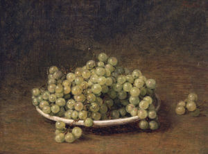 White Grapes On A Plate by Ignace-Henri-Théodore Fantin-Latour