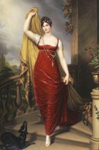The Hon. Mrs Thomas Hope, Full Face In A Red Velvet Dress, 1813 by Henry Bone