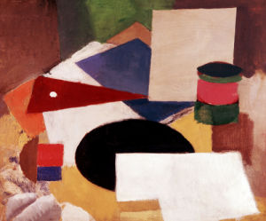 Still Life, Square On A White Background With A Black Disc by Roger de la Fresnaye