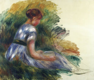 Alice Gamby In The Garden, Young Girl Sitting In The Grass, 1891 by Pierre Auguste Renoir