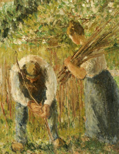 Farm Labourers Planting Stakes, 1902 by Camille Pissarro