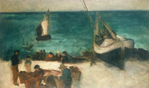 Seascape At Berck; Fishing Boats And Fishermen, 1872 by Edouard Manet