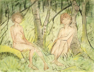 Two Women In The Forest, Circa 1925 by Otto Muller