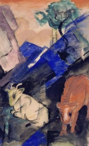 Two Cattle In A Hilly Landscape, 1913 by Franz Marc