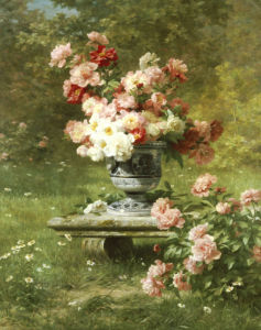 Peonies In An Urn In A Garden by Louis Marie Lemaire