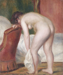 Female Nude Drying Herself, Circa 1909 by Pierre Auguste Renoir