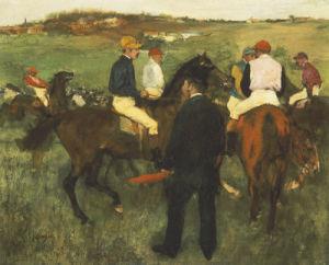 Racehorses (Leaving The Weighing), Circa 1874 by Edgar Degas