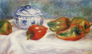 Still Life With A Blue Sugar Bowl And Peppers, Circa 1905 by Pierre Auguste Renoir