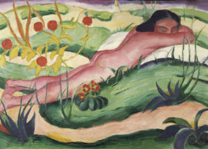Nude Lying In The Flowers, 1910 by Franz Marc