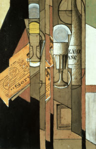 Glasses, A Newspaper And A Bottle Of Wine by Juan Gris