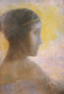 Head of A Young Woman In Profile, Circa 1895 by Odilon Redon
