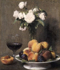 Still Life With Roses, Fruits And A Glass Of Wine, 1872 by Ignace-Henri-Théodore Fantin-Latour