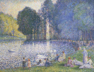 The Lake In The Bois De Boulogne, Circa 1899 by Henri-Edmond Cross
