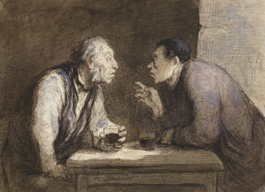 Two Drinkers. Deux Buveurs, Circa 1857 by Honoré-Victorin Daumier