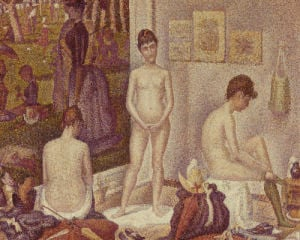 Les Poseuses Including A Reference To Dimanche Apres-Midi Sur La Grande Jatte, Umbrella by Georges Seurat