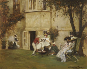 Tea In The Garden by Albert Chevallier Tayler
