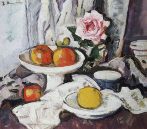 Apples In A White Fruitbowl And A Pink Rose In A Vase by Leslie Hunter